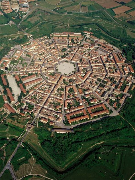 Areial view of the town of Palmanova, Italy