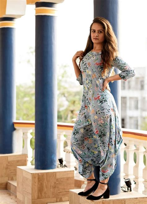 blue and floral Dhoti Jumpsuit   Indian designer outfits