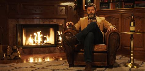 Watch Nick Offerman Drink Whiskey, Sit Silently by Fire