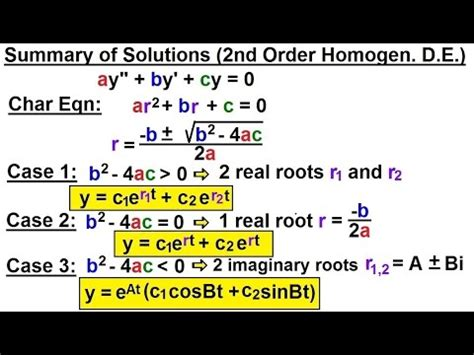 Differential Equation - 2nd Order (34 of 54) Summary of