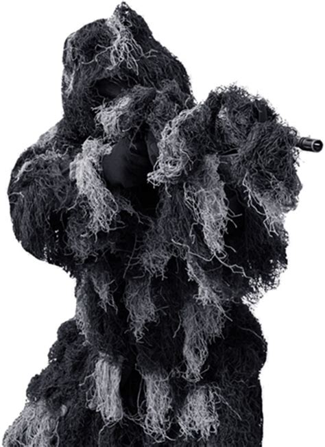 Mens 4 PC Ghillie Suit (Black) Camo Use for Airsoft
