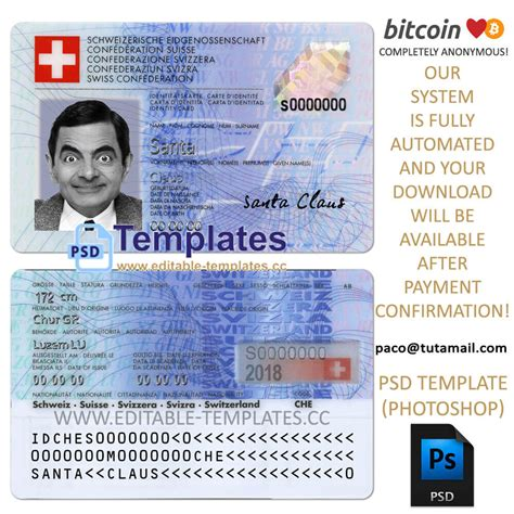 Fully editable SWITZERLAND ID Template PSD Template