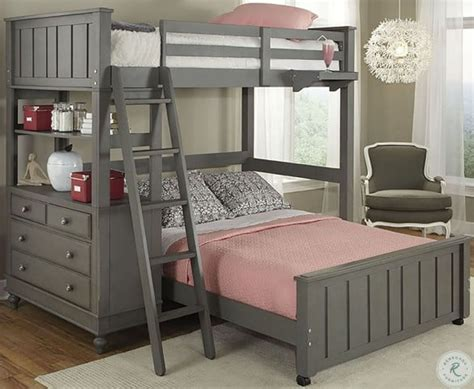 Lake House Stone Twin Loft Bed with Full Lower Bed from NE