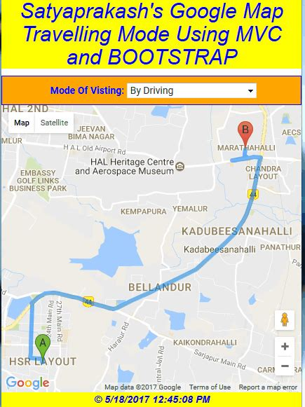 Google Maps Travelling Mode Using Bootstrap In ASP